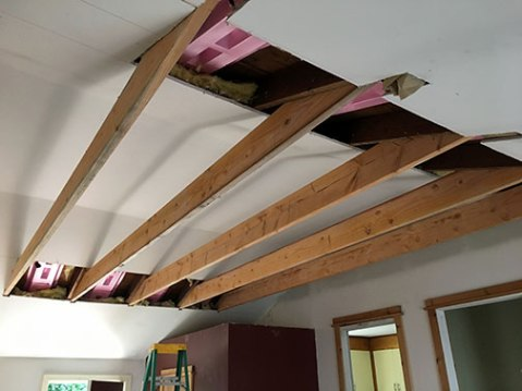 Ceiling beams in place