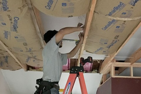 Adding the ceiling insulation